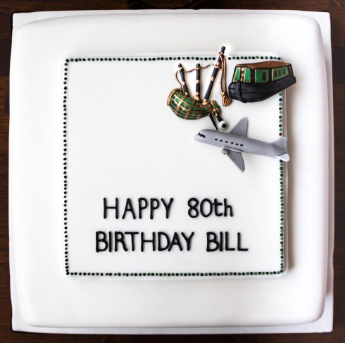 Bagpipes, Canal Boat and Aeroplane 80th Birthday Cake