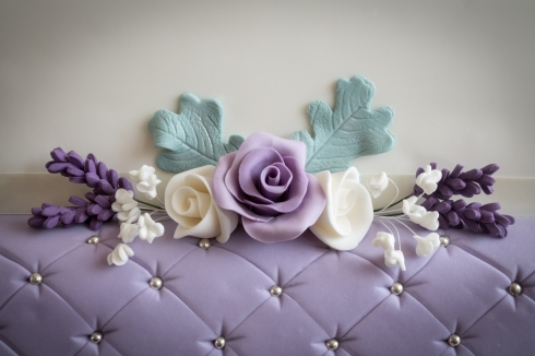 Roses, Lavender, Dusty Miller and Gypsophila flowers made in petal paste